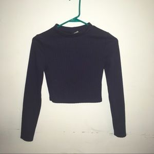 Textured Cropped Mock Turtleneck